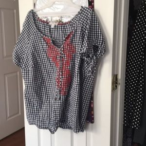 Peasant Style Gingham Tunic